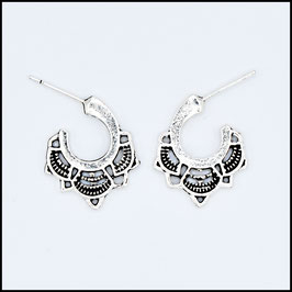 Silver vintage open hoop earrings model 2
