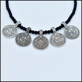 Quintuple coin necklace - Black