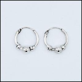 Silver bohemian hoop earrings model 20