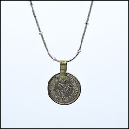 Long saturn necklace with coin - silver