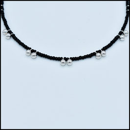Silver ball necklace - black