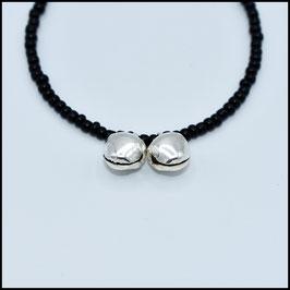 Silver double bell bracelet - Black