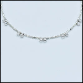 Silver ball necklace - silver
