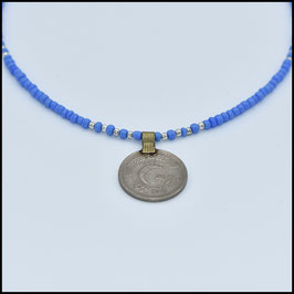 Vintage coin necklace - Blue