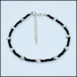 Mini silver star anklet - black