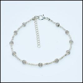 Tibetan beads anklet - silver