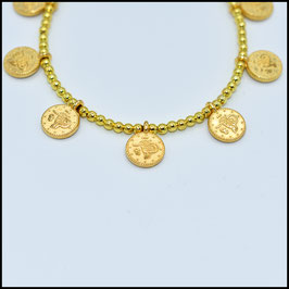Gold small coin bracelet - Gold