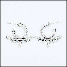 Silver vintage open hoop earrings model 1