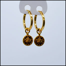 Gold hoop earrings small coin