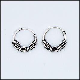 Silver bohemian hoop earrings model 18
