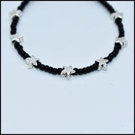 Mini silver star bracelet - Black