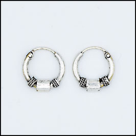 Silver bohemian hoop earrings model 10