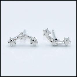 Triple star earrings - Silver
