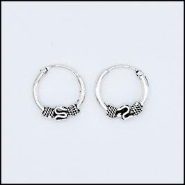 Silver bohemian hoop earrings model 6