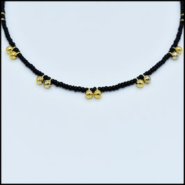 Gold ball necklace - black