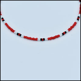 Beads choker - Red/white/black
