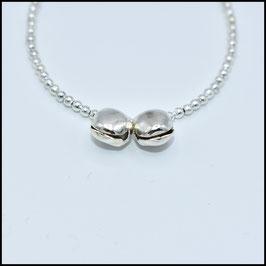 Silver double bell bracelet - Silver