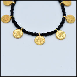 Gold small coin bracelet - Black