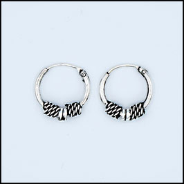 Silver bohemian hoop earrings model 19