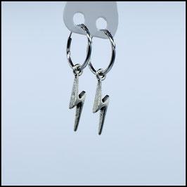 Silver hoop earrings thunder