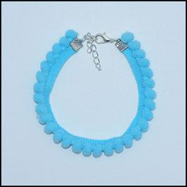 Pompom anklet blue