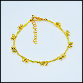 Gold ball anklet - gold