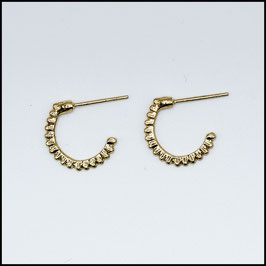 Open hoop earrings ribbed - gold