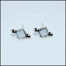 Silver bohemian stud earrings