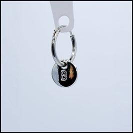 Silver hoop earring initial
