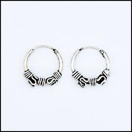 Silver bohemian hoop earrings model 8