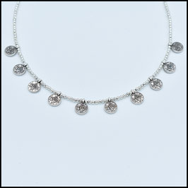 Decuple small coin necklace - silver