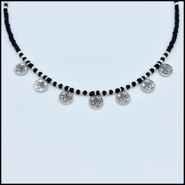 Septuple small coin necklace - Black