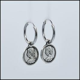 Silver hoop earrings coin