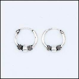 Silver bohemian hoop earrings model 7