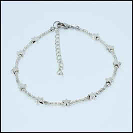 Mini silver star anklet - silver