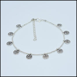 Silver small coin anklet - silver