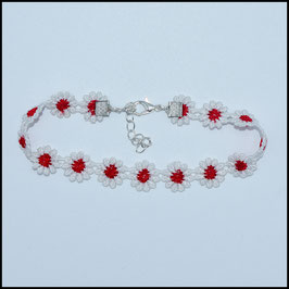 Red/white daisy anklet
