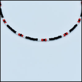 Beads choker - Black/White/red