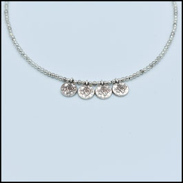 Quadruple small silver coin necklace - Silver