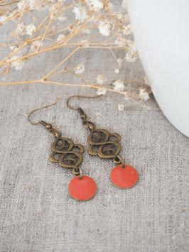 Boucles d'oreilles arabesques oranges