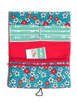 Portefeuille rouge et turquoise fleurs rétro