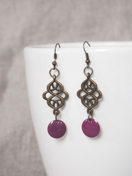 Boucles d'oreilles arabesques violettes