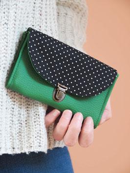 Porte monnaie Suzanne vert noir pois