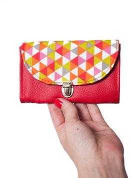 Porte monnaie rouge triangles