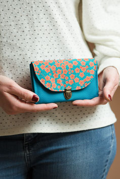 Porte monnaie Lili turquoise orange fleurs