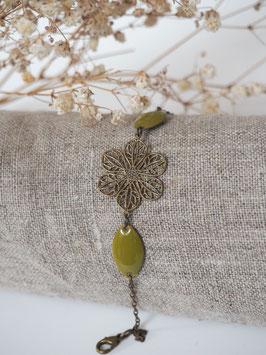Bracelet sequins gouttes vert olive