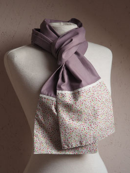Foulard mauve gris fleurs