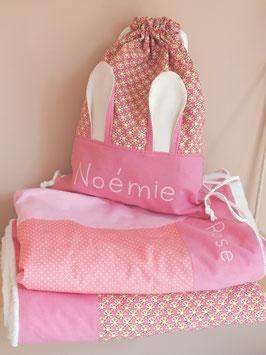 2 couvertures et sac à doudou prénom