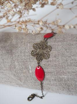 Bracelet sequins gouttes rouge