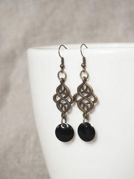 Boucles d'oreilles arabesques noires